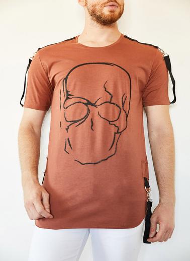 XHAN Kiremit Kuru Kafa Baskılı Şerit Detaylı Uzun T-Shirt 0Yxe1-44106-16 Kiremit
